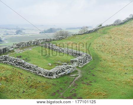 Hadrian's Wall near Cawfields Quarry, Northumberland, England
