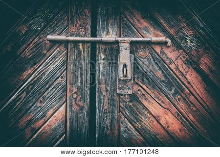 Wooden Door Surface With Padlock, Abstract Background With Two Layers