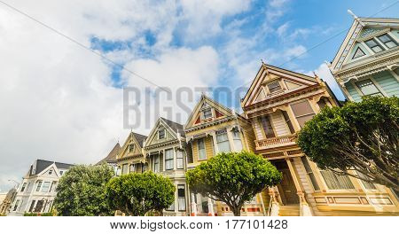 San Francisco CA USA - October 30 2016: world famous Painted Ladies in Alamo square