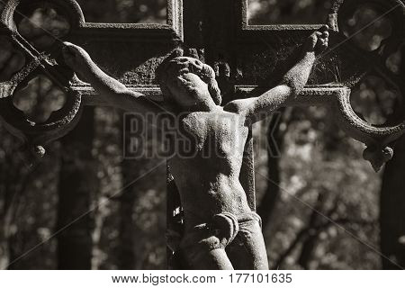 Holy cross with crucified Jesus Christ (Faith religion sin salvation concept)