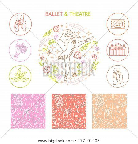 Vector set of logo design templates, seamless patterns and signs for identity, business cards and packaging - ballet school or studio, dance studio, performance with ballerina and flower.