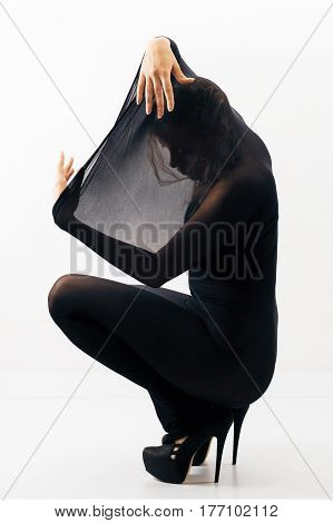Part of series. Female silhouette in black nylon body stocking and in high heels shoes against white background.