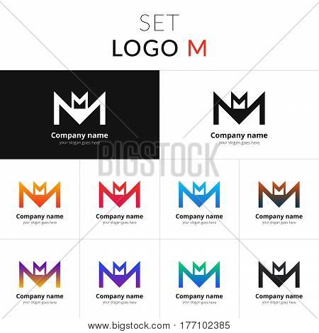 Letter M logo. Set abstract double icon M with colorful gradient. Vector sign on black and white color background. Creative vision concept logo, elements, symbol for card, brand, banners.