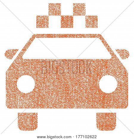 Taxi Automobile vector textured icon for overlay watermark stamps. Fabric orange vectorized texture. Symbol with scratched design. Rubber seal stamp with fiber textile structure.