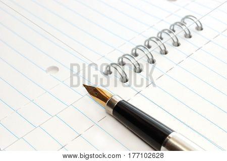 A gold pen on a spiral-bound notepad