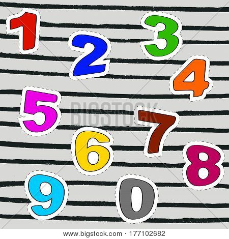 Set of numbers, ideal for clothes embroidery patch or stickers. Printing and badge applique label t-shirts, jeans, casual wear. Vector illustration.