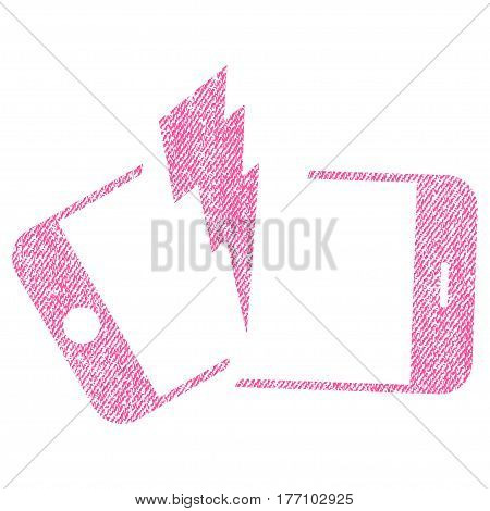 Broken Smartphone vector textured icon for overlay watermark stamps. Fabric pink vectorized texture. Symbol with dirty design. Rubber seal stamp with fiber textile structure.