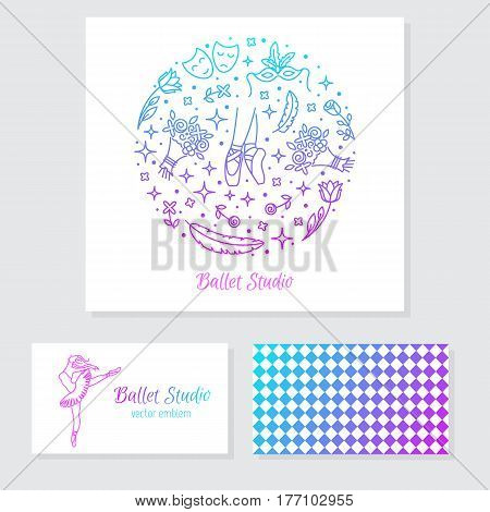 Vector set of logo design templates, business card design and signs for identity  - ballet school, theatre and dance studio.
