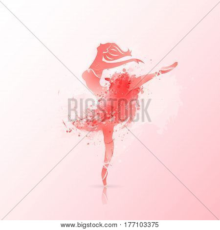 Vector background. Ballerina in dance. Perfect for ballet school or studio, dance studio, performance, banner, poster. Ballet dance pose on watercolor background.