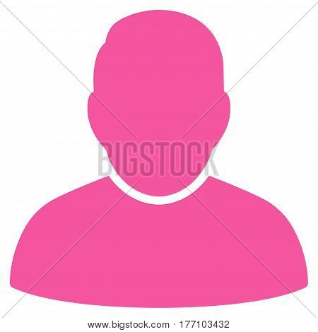 User vector icon. Flat pink symbol. Pictogram is isolated on a white background. Designed for web and software interfaces.