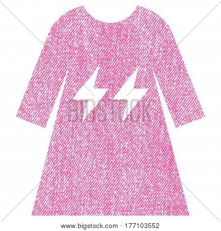Electric Energy Girl Dress vector textured icon for overlay watermark stamps. Fabric pink vectorized texture. Symbol with dirty design. Rubber seal stamp with fiber textile structure.
