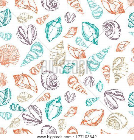 Vector sea shells seamless pattern. Hand drawn surface pattern design with colorful shells isolated on white background. Seamless texture for wallpapers, web page backgrounds, surface textures.