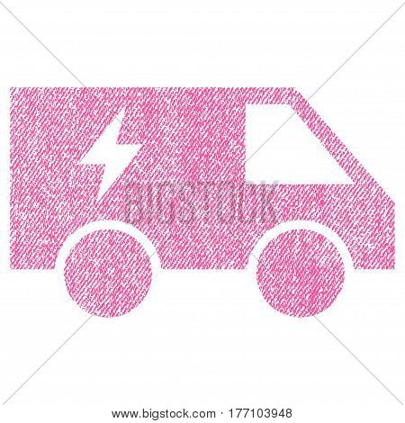 Electric Power Car vector textured icon for overlay watermark stamps. Fabric pink vectorized texture. Symbol with dirty design. Rubber seal stamp with fiber textile structure.