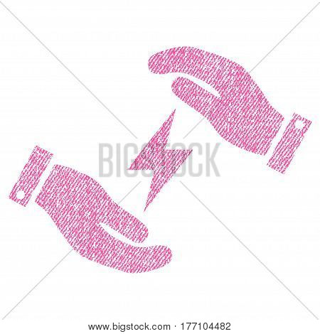 Electricity Care Hands vector textured icon for overlay watermark stamps. Fabric pink vectorized texture. Symbol with dirty design. Rubber seal stamp with fiber textile structure.