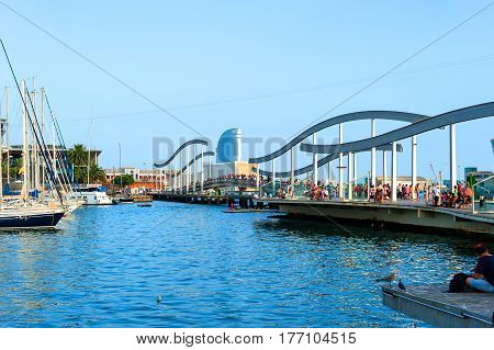 Barcelona, Spain - August 7, 2014: View of Marina and Waterfront in Barcelona, Catalonia