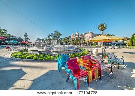 a fountain in Balboa park in California