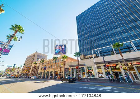 Los Angeles CA USA - November 02 2016: Hooters restaurant in Hollywood boulevard