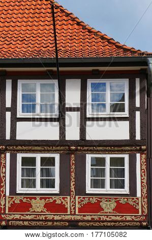 Fragment of medieval building in the Weser Renaissance style in Hameln, Germany.