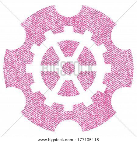 Gearwheel vector textured icon for overlay watermark stamps. Fabric pink vectorized texture. Symbol with dust design. Rubber seal stamp with fiber textile structure.
