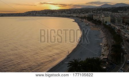 Dusk Night Lights Aerial Panoramic View Nice French Riviera France Beach , Ultra High Definition.