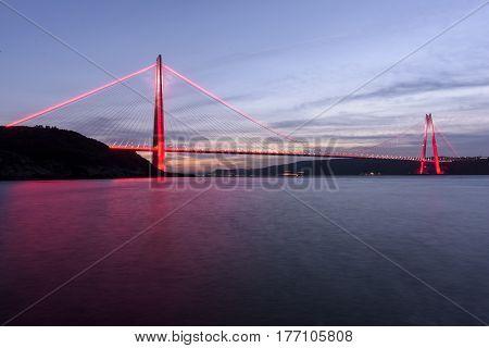 sunset time on Yavuz Sultan Selim Bridge of Istanbul Bosphorus with long exposure