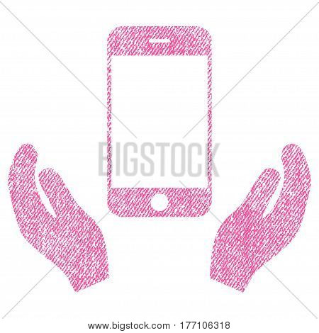 Smartphone Care Hands vector textured icon for overlay watermark stamps. Fabric pink vectorized texture. Symbol with dust design. Rubber seal stamp with fiber textile structure.