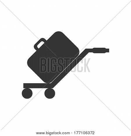 Luggage trolley silhouette on the white background. Vector illustration