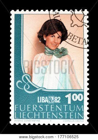 LIECHTENSTEIN - CIRCA 1982 : Cancelled postage stamp printed by Liechtenstein, that promotes Princess Marie.