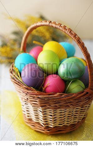 Basket with Easter eggs and spring flowers. Top view