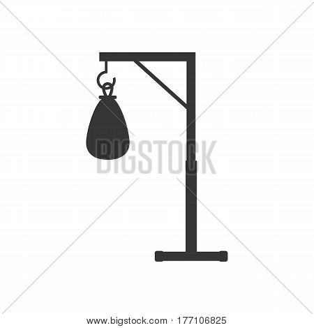 Punching bag silhouette on the white background. Vector illustration