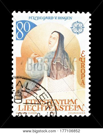 LIECHTENSTEIN - CIRCA 1983 : Cancelled postage stamp printed by Liechtenstein, that shows Hildegard von Bingen.