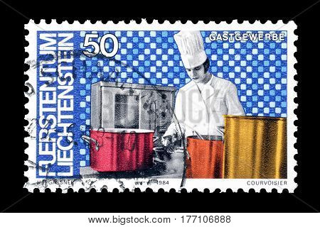 LIECHTENSTEIN - CIRCA 1984 : Cancelled postage stamp printed by Liechtenstein, that shows Cook.