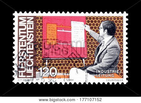 LIECHTENSTEIN - CIRCA 1984 : Cancelled postage stamp printed by Liechtenstein, that shows Scientist.
