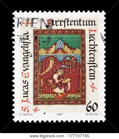LIECHTENSTEIN - CIRCA 1987 : Cancelled postage stamp printed by Liechtenstein, that shows The four Evangelists.