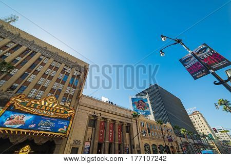Los Angeles CA USA - November 02 2016: El Capitan movie theater in Hollywood boulevard