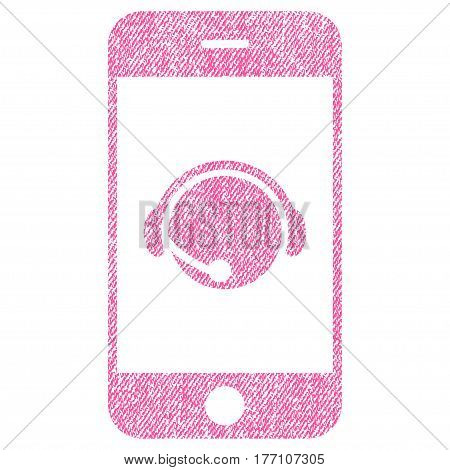 Smartphone Operator Contact Head vector textured icon for overlay watermark stamps. Fabric pink vectorized texture. Symbol with dust design. Rubber seal stamp with fiber textile structure.