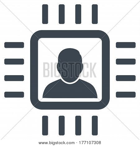 Neuro Processor vector icon. Flat smooth blue symbol. Pictogram is isolated on a white background. Designed for web and software interfaces.