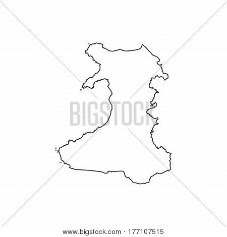 Wales map silhouette illustration on the white background. Vector illustration