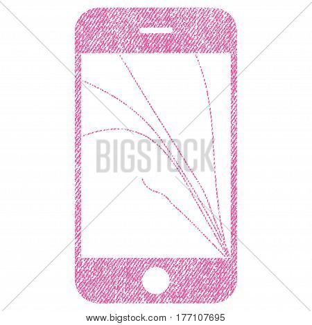 Smartphone Screen Cracks vector textured icon for overlay watermark stamps. Fabric pink vectorized texture. Symbol with dust design. Rubber seal stamp with fiber textile structure.