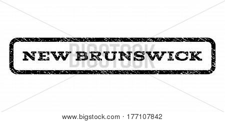New Brunswick watermark stamp. Text tag inside rounded rectangle with grunge design style. Rubber seal stamp with dirty texture. Vector black ink imprint on a white background.