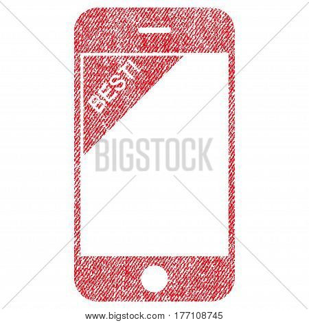 Best Telephone vector textured icon for overlay watermark stamps. Fabric red vectorized texture. Symbol with scratched design. Rubber seal stamp with fiber textile structure.