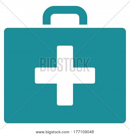 First Aid Bag vector icon. Flat soft blue symbol. Pictogram is isolated on a white background. Designed for web and software interfaces.