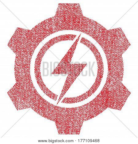 Electric Cogwheel vector textured icon for overlay watermark stamps. Fabric red vectorized texture. Symbol with scratched design. Rubber seal stamp with fiber textile structure.