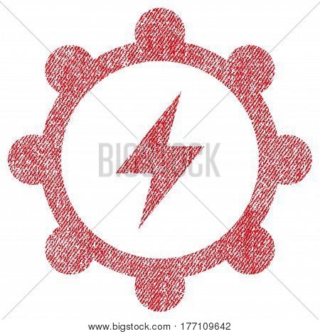Electric Energy Cogwheel vector textured icon for overlay watermark stamps. Fabric red vectorized texture. Symbol with dust design. Rubber seal stamp with fiber textile structure.
