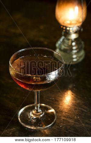 manhattan classic whisky cocktail drink in modern bar