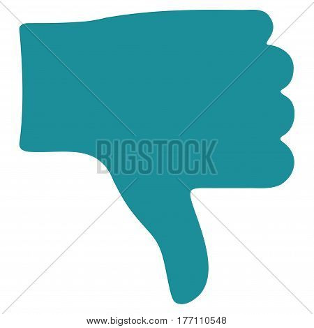 Thumb Down vector icon. Flat soft blue symbol. Pictogram is isolated on a white background. Designed for web and software interfaces.