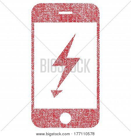 Electric Mobile Phone vector textured icon for overlay watermark stamps. Fabric red vectorized texture. Symbol with dust design. Rubber seal stamp with fiber textile structure.