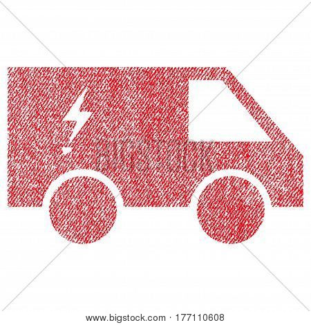 Electric Power Car vector textured icon for overlay watermark stamps. Fabric red vectorized texture. Symbol with dust design. Rubber seal stamp with fiber textile structure.
