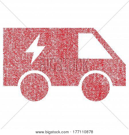 Electric Power Car vector textured icon for overlay watermark stamps. Fabric red vectorized texture. Symbol with unclean design. Rubber seal stamp with fiber textile structure.