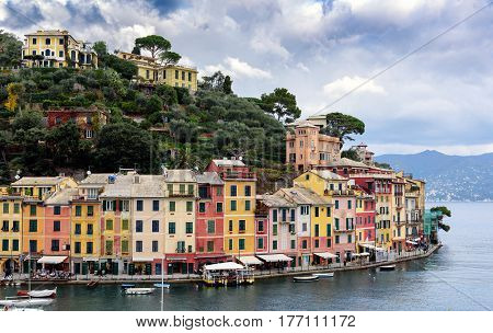 PORTOFINO, ITALY - DECEMBER 2016: Color houses of Portofino town at Ligurian coastline of Mediterranean sea, Italy